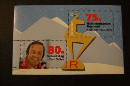 Österreich 2015 80 Geb. Toni Sailer, 75. J. Hahnenkamm Rennen Block postfrisch ANK 3206 - 3207