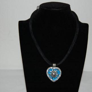 Edelweiss Trachten Kette,blau,Samtkropfband,Herzanhänger mit Strasssteinen