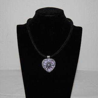 Edelweiss Trachten Kette,lila,Samtkropfband,Herzanhänger mit Strasssteinen