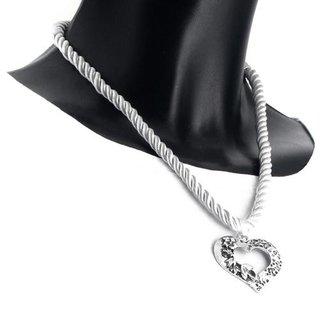 Edelweiss Trachten Kette, Satinband,weiss, mit Herzanhänger