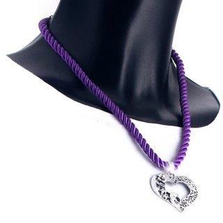 Edelweiss Trachten Kette, Satinband, dunkel lila, mit Herzanhänger