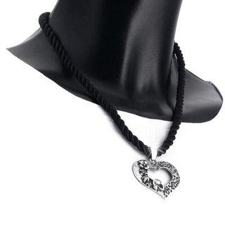 Edelweiss Trachten Kette, Satinband, schwarz, mit Herzanhänger