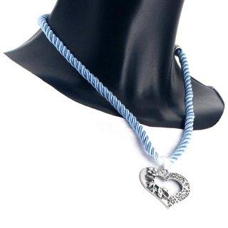 Edelweiss Trachten Kette, Satinband, hell blau, mit Herzanhänger