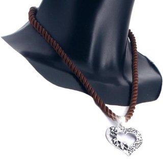 Edelweiss Trachten Kette, Satinband, dunkel braun, mit Herzanhänger