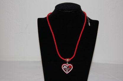 Edelweiss Trachten Damen Halskette geflochtenes Kunststoffband, Anhänger  Messing 23 cm