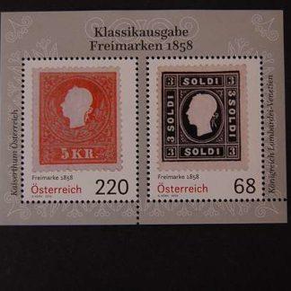 Österreich 2016 Block Klassikausgabe Freimarken 1858 postfrisch ANK 3319 - 3320