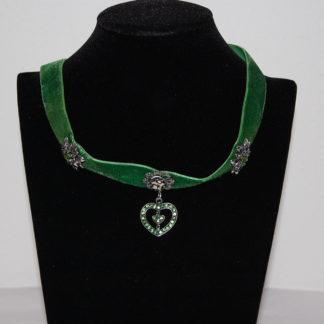 Edelweiss Trachten Kette aus Samtband mit Herzahänger,Edelweiss,Blume, grün