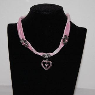 Edelweiss Trachten Kette aus Samtband mit Herzahänger,Edelweiss,Blume,rosa