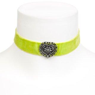 Edelweiss Trachten Kette, hell grün, mit Herz am elastischen Samtband