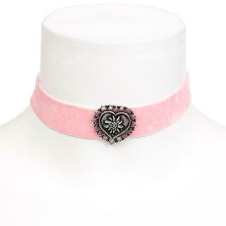 Edelweiss Trachten Kette, rosa, mit Herz am elastischen Samtband