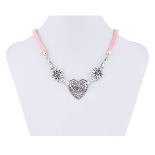 Edelweiss Trachten Kordelkette, pink , Herzanhänger mit Edelweissblüten, mit Verlängerung