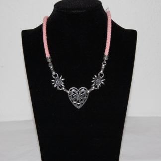 Edelweiss Trachten Kordelkette, rosa, Herzanhänger mit Edelweissblüten, mit Verlängerung