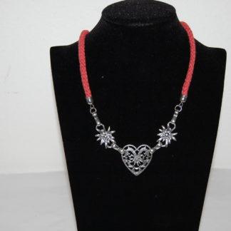 Edelweiss Trachten Kordelkette,dunkel rot, Herzanhänger mit Edelweissblüten, mit Verlängerung