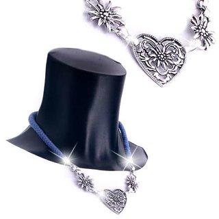 Edelweiss Trachten Kordelkette, dunkel blau, Herzanhänger mit Edelweissblüten, mit Verlängerung