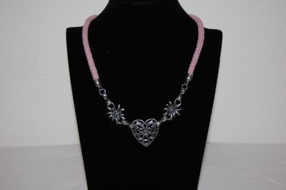 Edelweiss Trachten Kordelkette, dunkel lila, Herzanhänger mit Edelweissblüten, mit Verlängerung