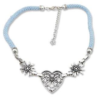 Edelweiss Trachten Kordelkette, hellblau, Herzanhänger mit Edelweissblüten, mit Verlängerung