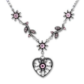 Tillberg Damen Venezianerkette von Edelweiss Trachten Herz Blüten Strass Rosa