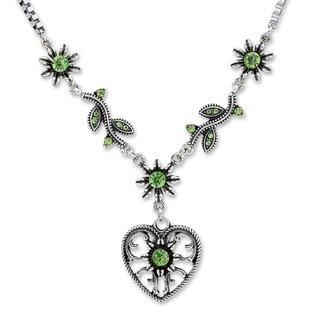 Tillberg Damen Venezianerkette von Edelweiss Trachten Herz Blüten Strass Grün