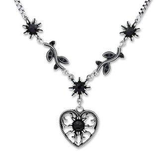 Tillberg Damen Venezianerkette von Edelweiss Trachten Herz Blüten Strass Schwarz