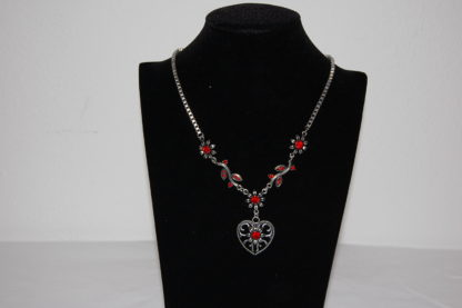 Tillberg Damen Venezianerkette von Edelweiss Trachten Herz Blüten Strass Rot
