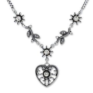 Tillberg Damen Venezianerkette von Edelweiss Trachten Herz Blüten Strass Weiss