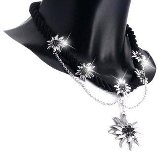 Tillberg Damen Edelweiss Trachten Kette Kordel aus Satin Strasssteine 41 cm Schwarz