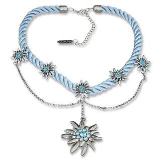 Tillberg Damen Edelweiss Trachten Kette Kordel aus Satin Strasssteine 41 cm Türkis