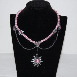 Tillberg Damen Edelweiss Trachten Kette Kordel aus Satin Strasssteine 41 cm Rosa