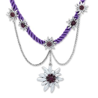 Tillberg Damen Edelweiss Trachten Kette Kordel aus Satin Strasssteine 41 cm Violett