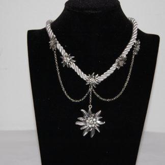 Tillberg Damen Edelweiss Trachten Kette Kordel aus Satin Strasssteine 41 cm Weiß
