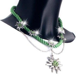 Tillberg Damen Edelweiss Trachten Kette Kordel aus Satin Strasssteine 41 cm Grasgrün