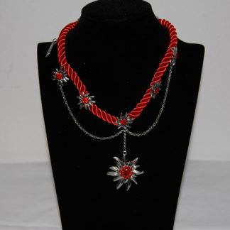 Tillberg Damen Edelweiss Trachten Kette Kordel aus Satin Strasssteine 41 cm Rot