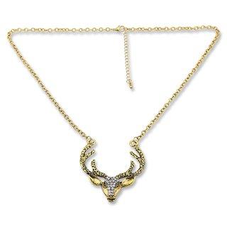 Edelweiss Trachten Hirschkette, antik gold mit Strasssteinen, 55 cm