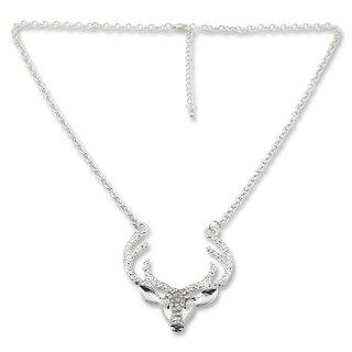 Edelweiss Trachten Hirschkette, silber/crystal mit Strasssteinen, 55 cm