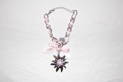Edelweiss Trachten Armband,rosa mit Anhänger und Schleife