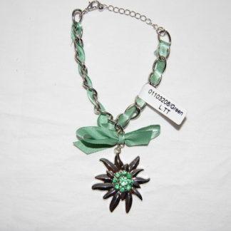 Edelweiss Trachten Armband,grün, mit Anhänger und Schleife