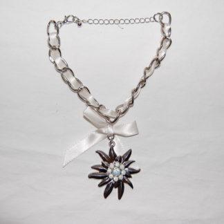 Edelweiss Trachten Armband,weisser opal, mit Anhänger und Schleife