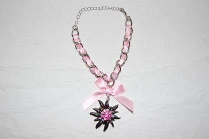 Edelweiss Trachten Armband,alt rosa, mit Anhänger und Schleife
