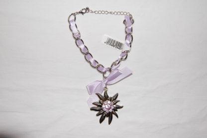 Edelweiss Trachten Armband,hell llila, mit Anhänger und Schleife