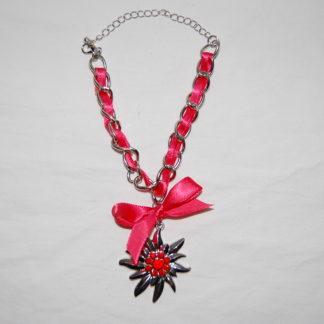 Edelweiss Trachten Armband,siam rot, mit Anhänger und Schleife