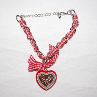 Edelweiss Trachten Damen und Herren Armband Messing 19 cm rot