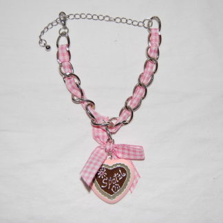 Edelweiss Trachten Damen und Herren Armband Messing 19 cm rosa