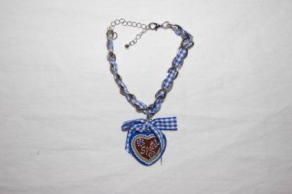 Edelweiss Trachten Damen und Herren Armband Messing 19 cm blau
