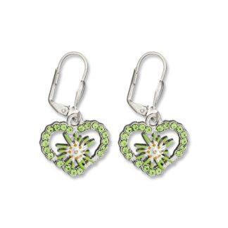 Edelweiss Trachten Ohrringe, Apfel grün, Herz mit Strass und Blume