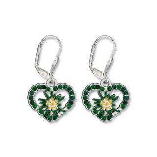 Edelweiss Trachten Ohrringe, emerald grün, Herz mit Strass und Blume