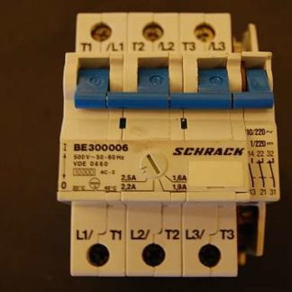 Schrack Motorschtzschalter / Überlastungsschutzschalter BE300006 500 V~ 50-60Hz VDE 0660 Einstellbar von 1,6A - 2,5A