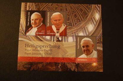 Österreich 2014 Heiligsprächung von Päpstern Block postfrisch ANK. 3167 - 3169