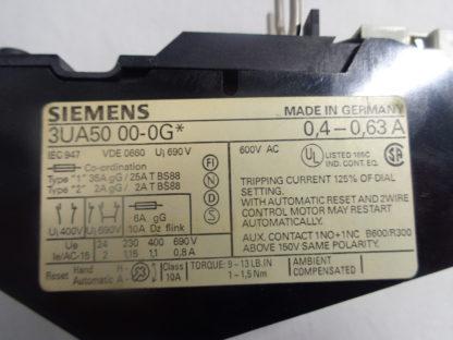 Siemens 3UA50 00-0G Überlastrelais 0,4-0,63A