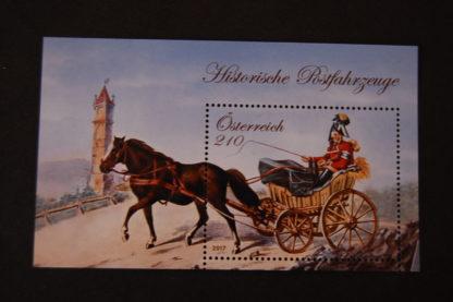 Historische Postfahrzeuge - Briefmarken-Block postfrisch, Österreich 2017